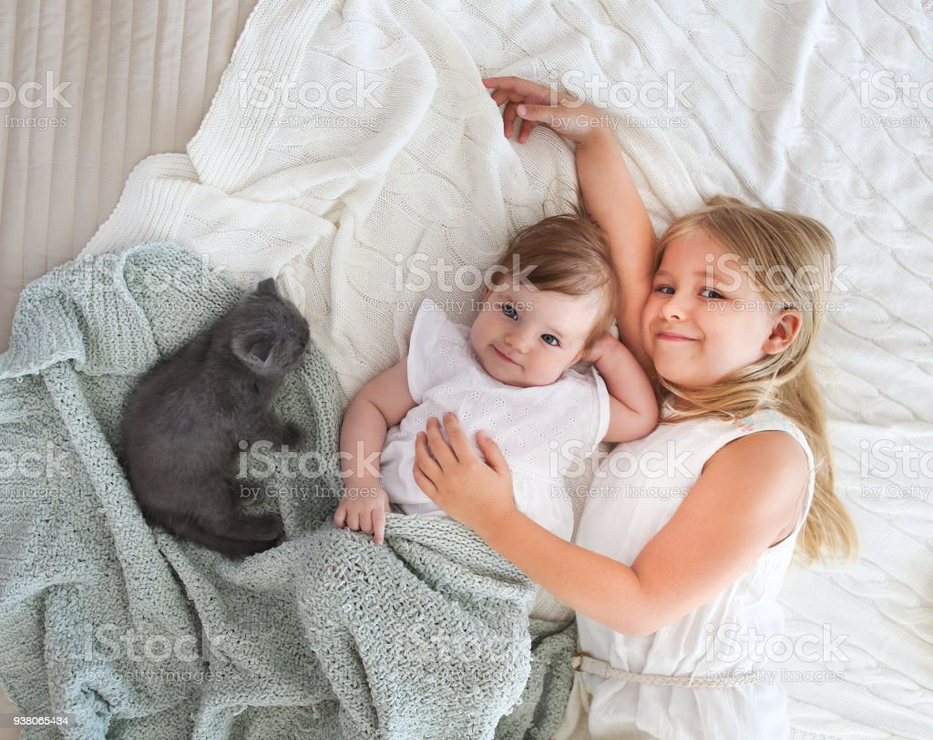 Portrait of two small pretty girls with kitten stock photo
