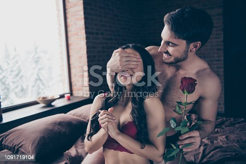istock Portrait of two sweet lovely attractive fascinating gorgeous dre 1091719104