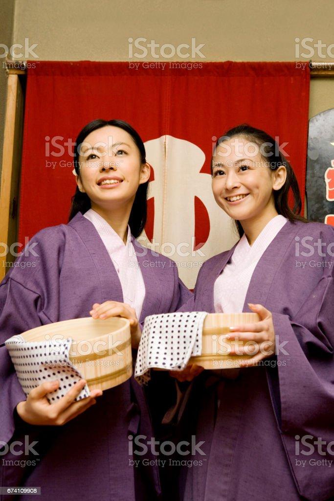 Portrait of two women in yukata royalty-free stock photo