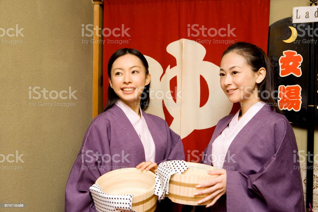 Portrait of two women in yukata royalty-free stock photo