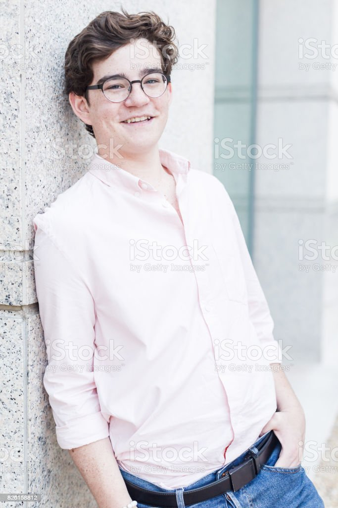 Portrait of typical american teenager stock photo