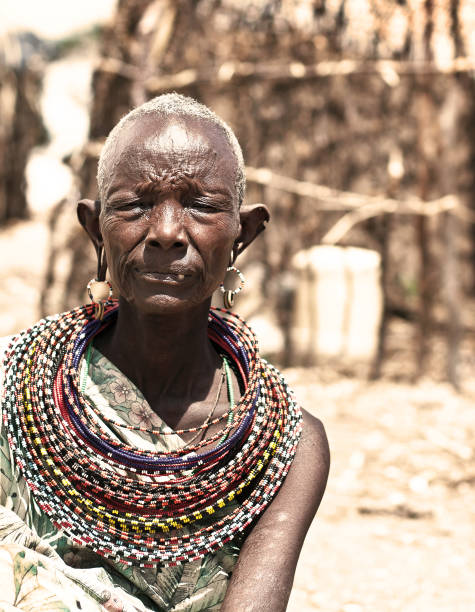 Portrait of unidentified African tribal lady stock photo