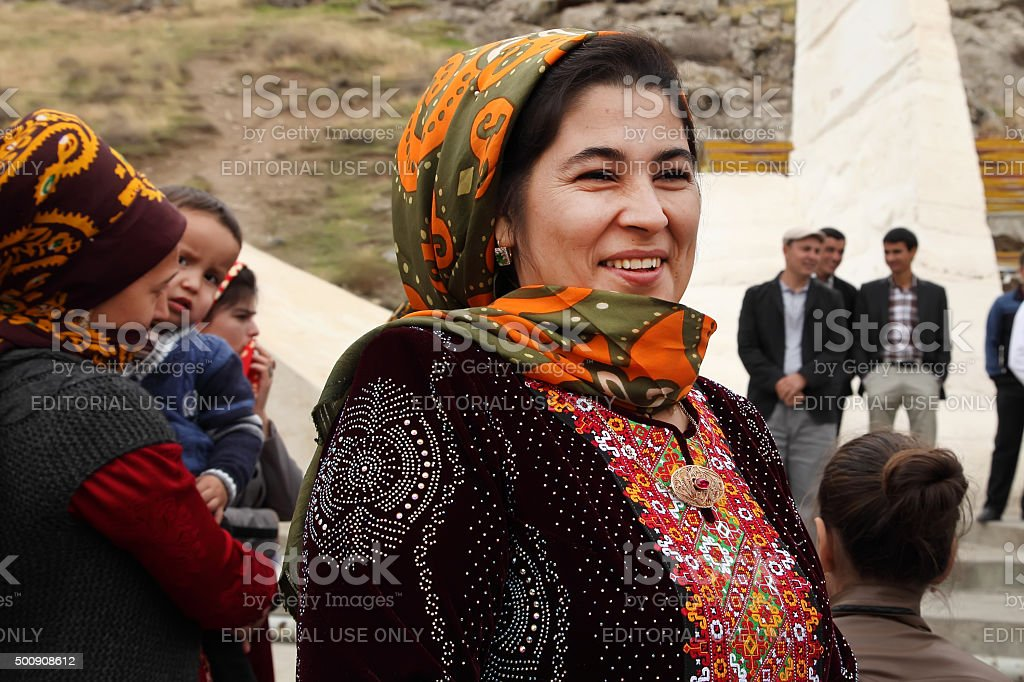 Portrait of unidentified  Asian woman in a headscarf. Kov-Ata, Turkmenistan stock photo