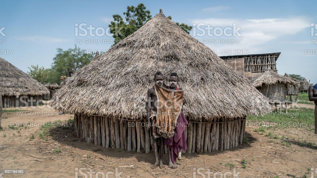 Portrait of unidentified Karo tribe children, Colcho, Omo Valley, Ethiopia. stock photo