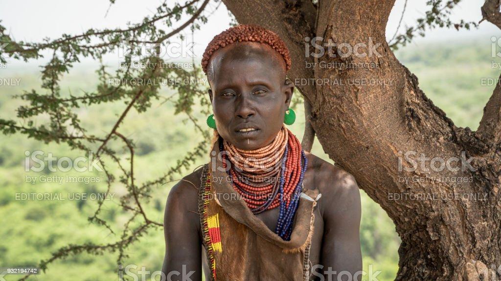 Portrait of unidentified Karo tribe woman, Colcho, Omo Valley, Ethiopia. stock photo