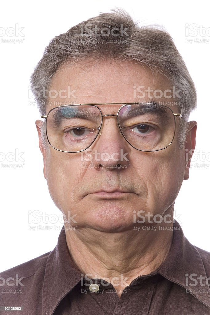 Portrait of Unsmiling Mature Man stock photo