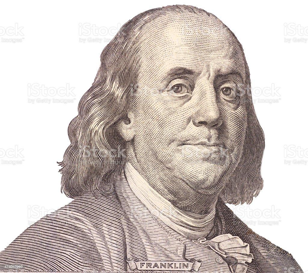 Retrato dos EUA Presidente Benjamin Franklin - foto de acervo