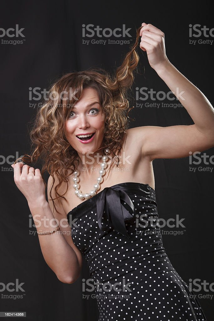 Portrait of very emotion surprised  beautifu young woman royalty-free stock photo