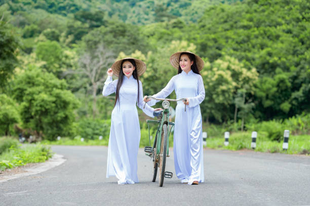 portrait of vietnam girl with ao dai - ao dai stock photos and pictures
