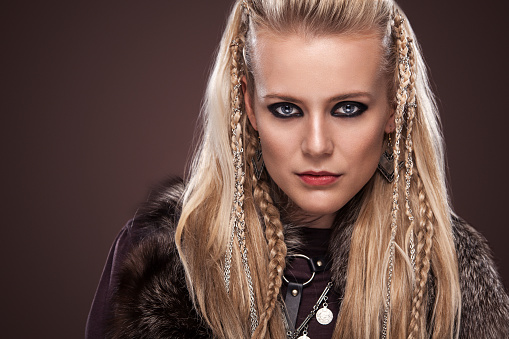 Beautiful Blonde Sword Wielding Viking Warrior Female High