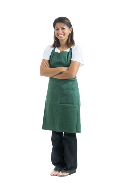 Portrait of waitress isolated on white stock photo