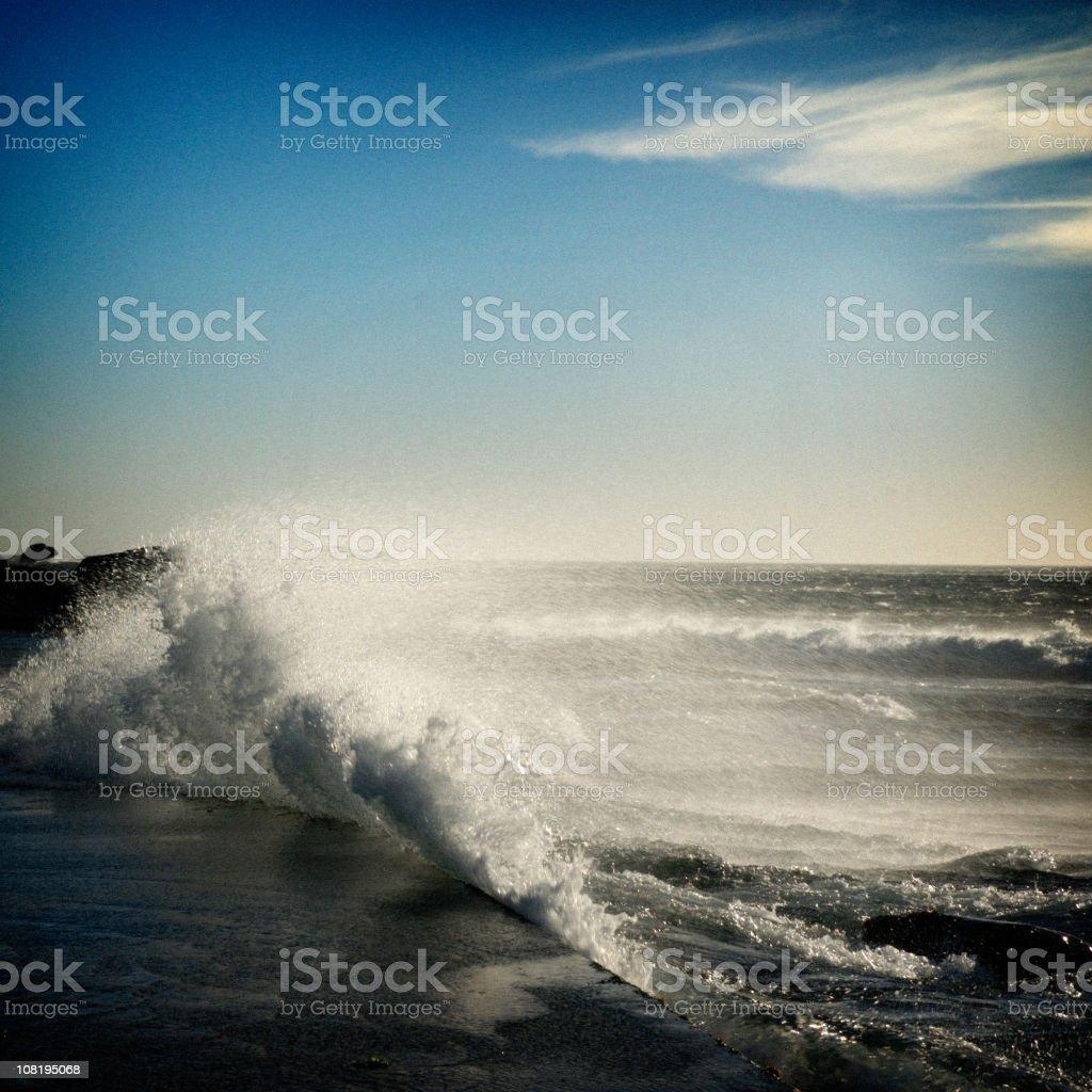 Portrait of Waves Crashing on Shore royalty-free stock photo