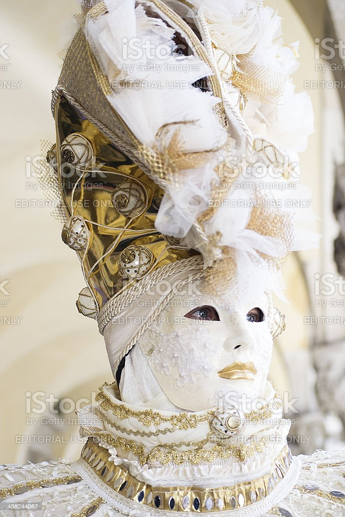 Portrait of white gold mask at Carnival in Venice 2013 royalty-free stock photo