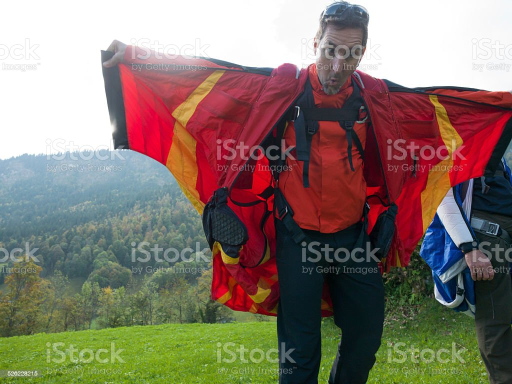 Portrait of wing suit flyer before jump stock photo