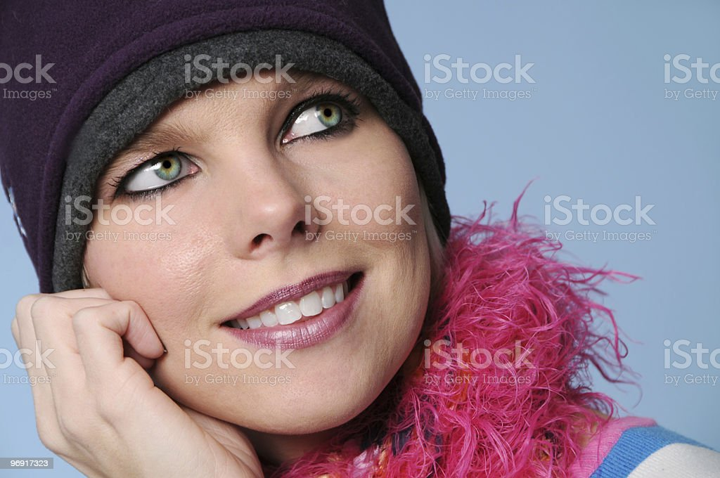 Portrait of winter girl smiling royalty-free stock photo