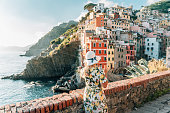 Rear view of woman in dress and hat standing against coastline, Cinque Terre, Italy