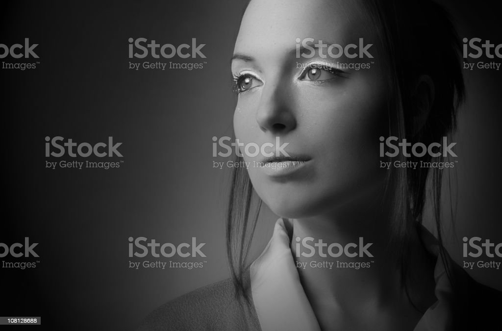Portrait of woman, black and white royalty-free stock photo
