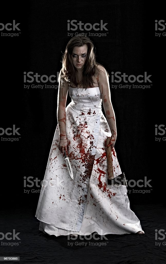 portrait of woman covered with blood stock photo