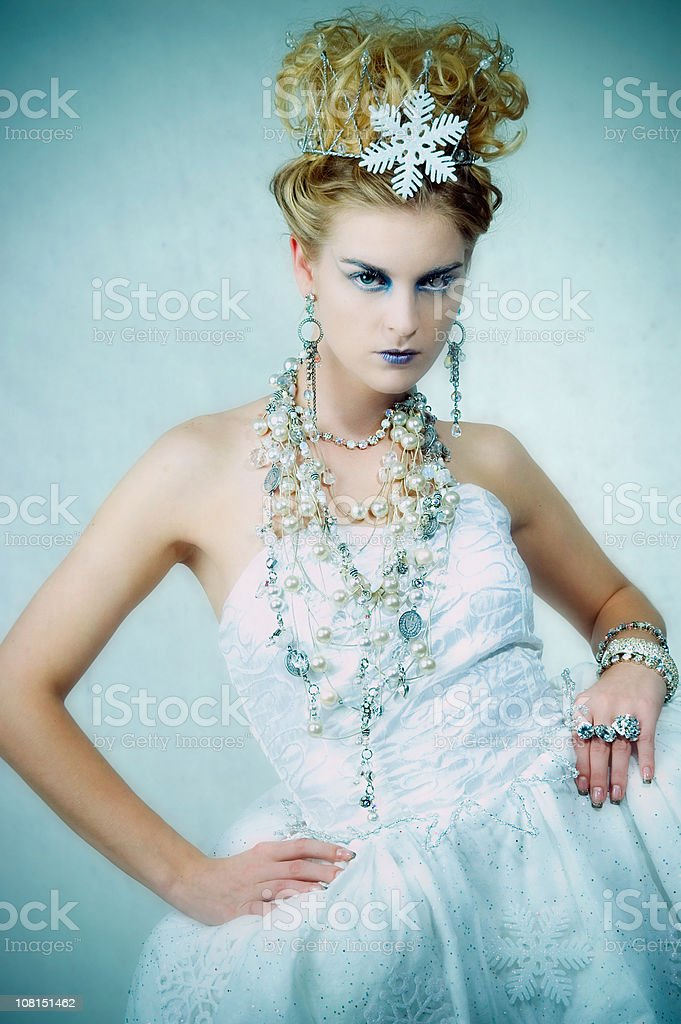 Portrait of Woman Dressed as Ice Queen royalty-free stock photo
