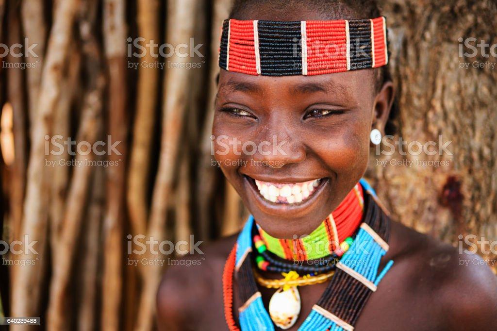 Porträt der Frau von Hamer tribe, Äthiopien, Afrika – Foto