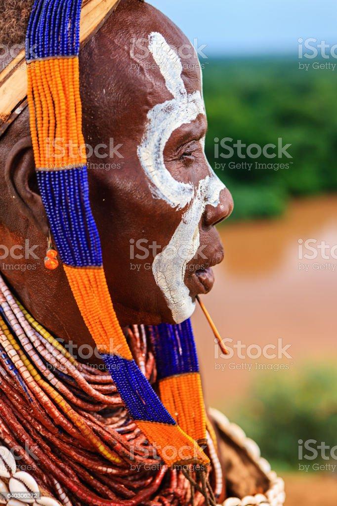 Portrait of woman from Karo tribe, Ethiopia, Africa stock photo