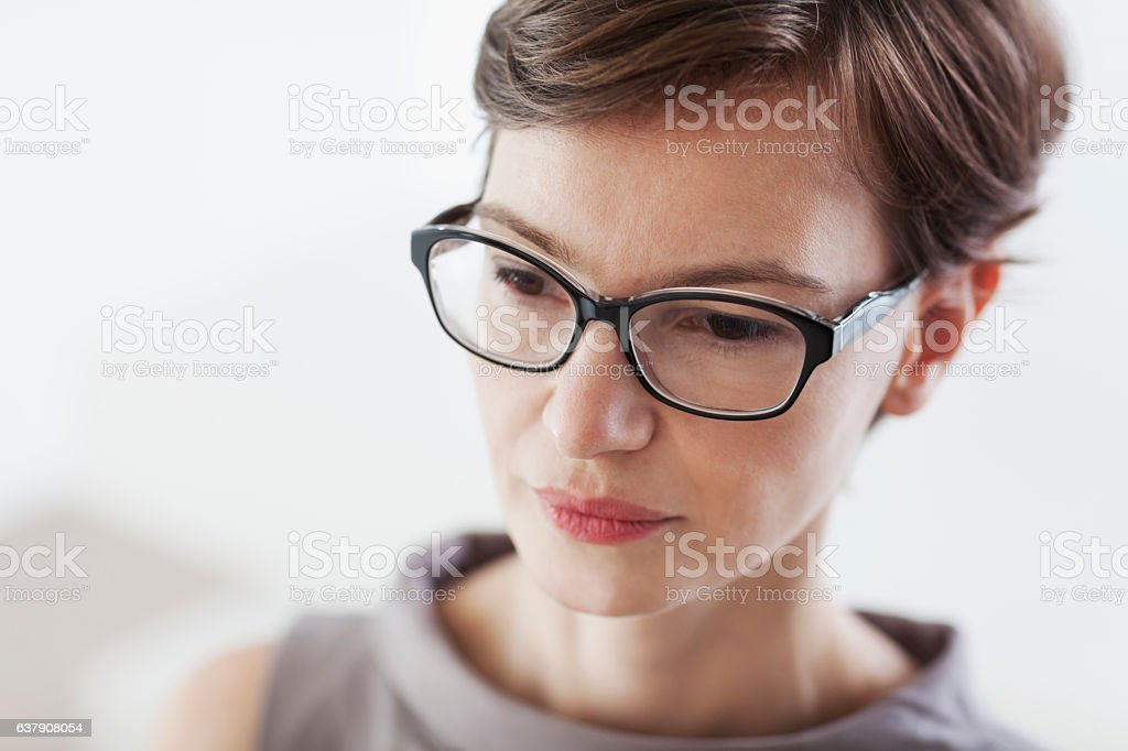 Portrait of woman from overhead stock photo