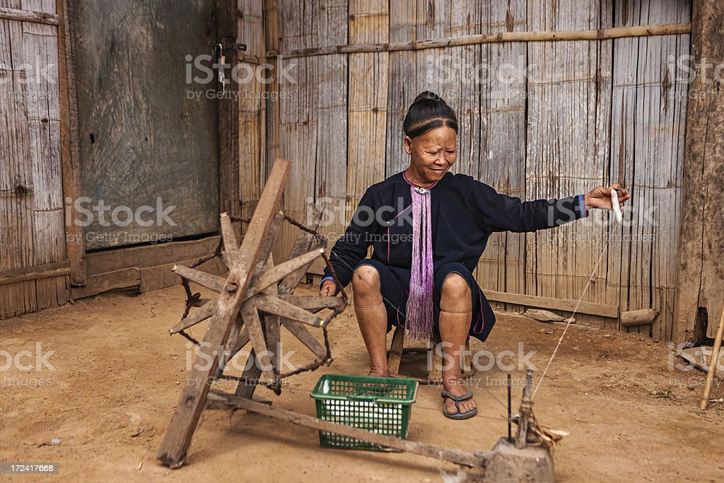 Portrait of woman from the Lantan hill tribe in Laos royalty-free stock photo
