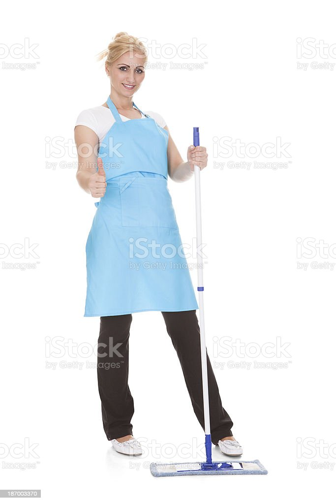Portrait Of Woman Holding Broom stock photo
