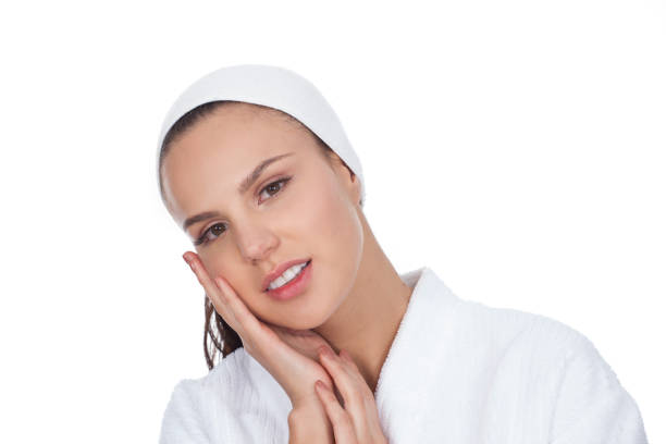 Portrait of woman in an aesthetic clinic stock photo