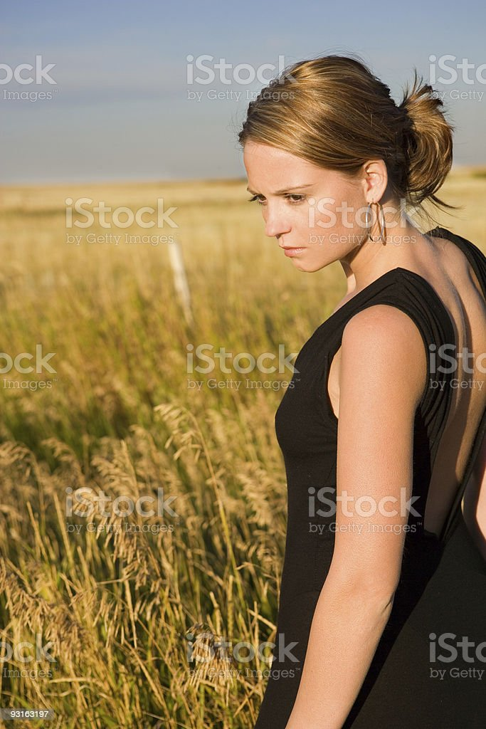 Portrait of Woman in Black Dress royalty-free stock photo
