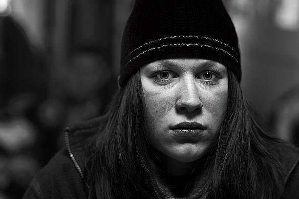 Portrait of Woman In Cap stock photo