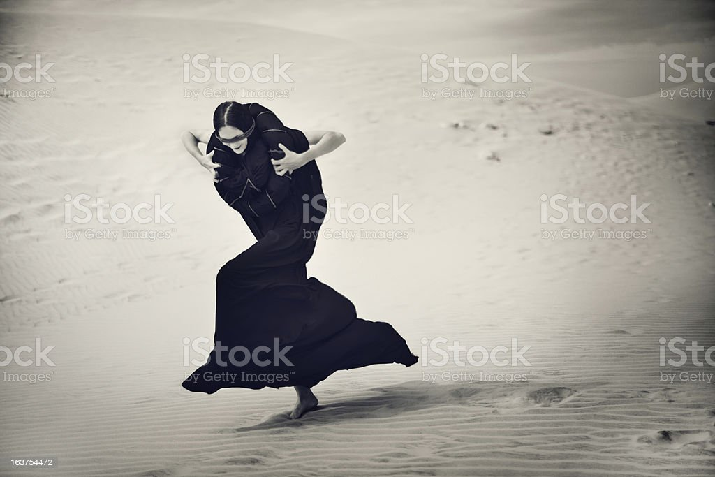 Portrait of Woman in Desert royalty-free stock photo