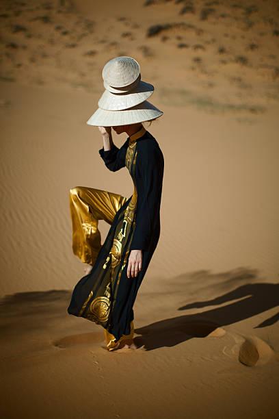 Portrait of Woman in Desert stock photo