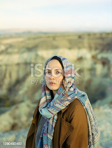 Portrait of woman in headscarf in  Cappadocia in Turkey