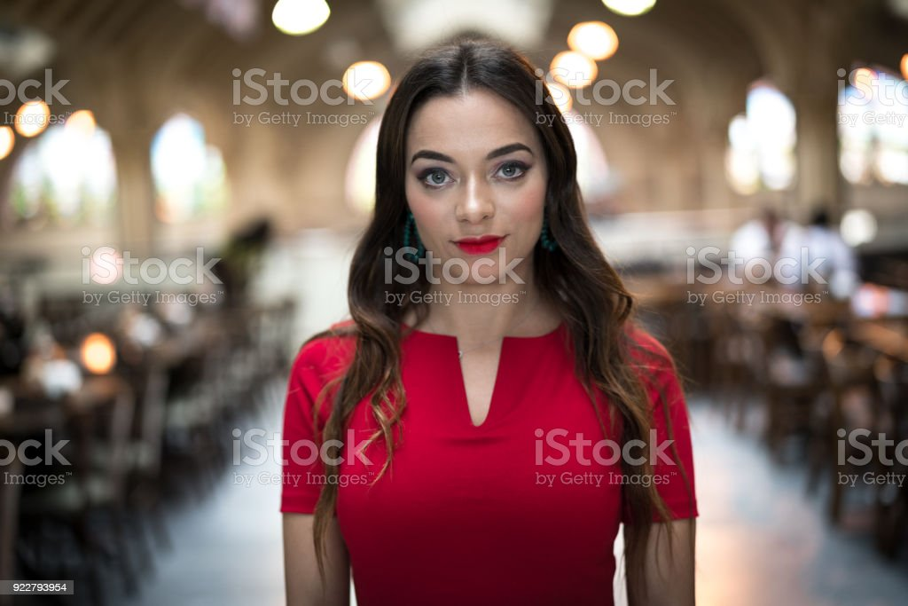 Portrait of Woman in Local Market stock photo