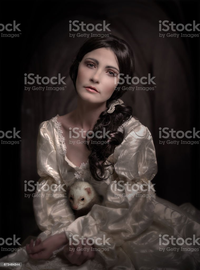 portrait of woman in vintage dress stock photo