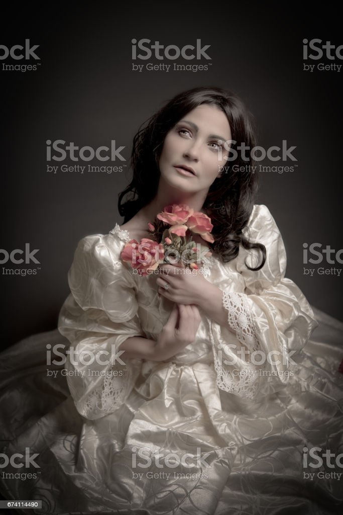 portrait of woman in vintage dress royalty-free stock photo