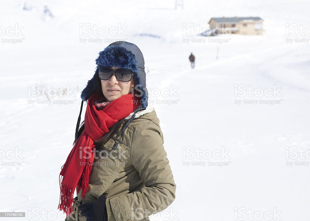 Portrait of woman in winter clothes royalty-free stock photo
