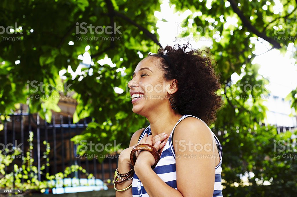 Portrait of woman laughing royalty free stockfoto