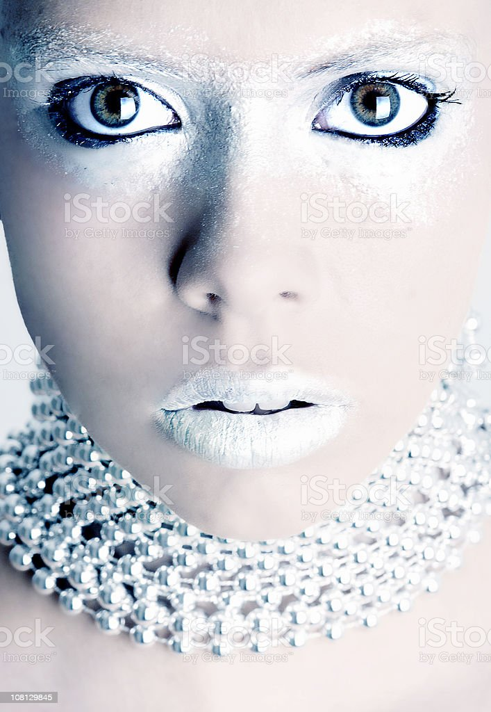 Portrait of Woman Model With Silver Make-up On royalty-free stock photo