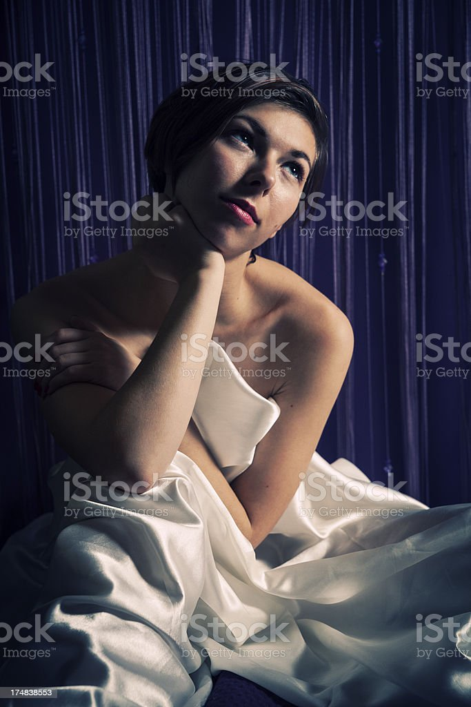 Portrait Of Woman On Purple Background royalty-free stock photo