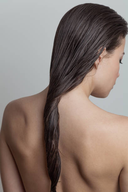 Portrait of woman Portrait of woman with wet hair rear view  focus on hair wet hair stock pictures, royalty-free photos & images