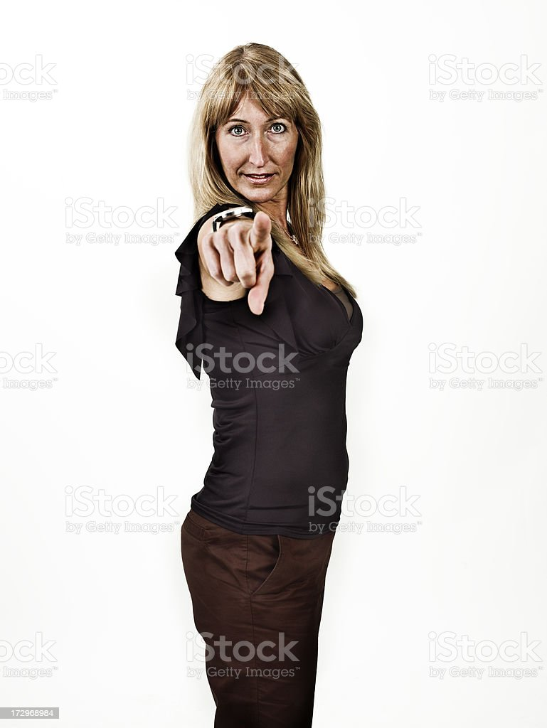 Portrait of woman pointing out her finger stock photo