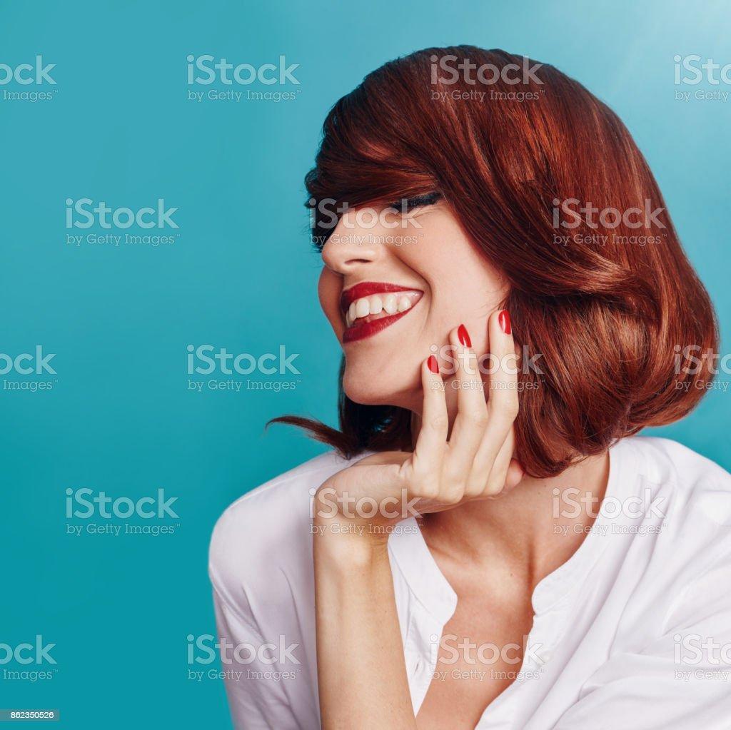 Portrait of woman smiling stock photo