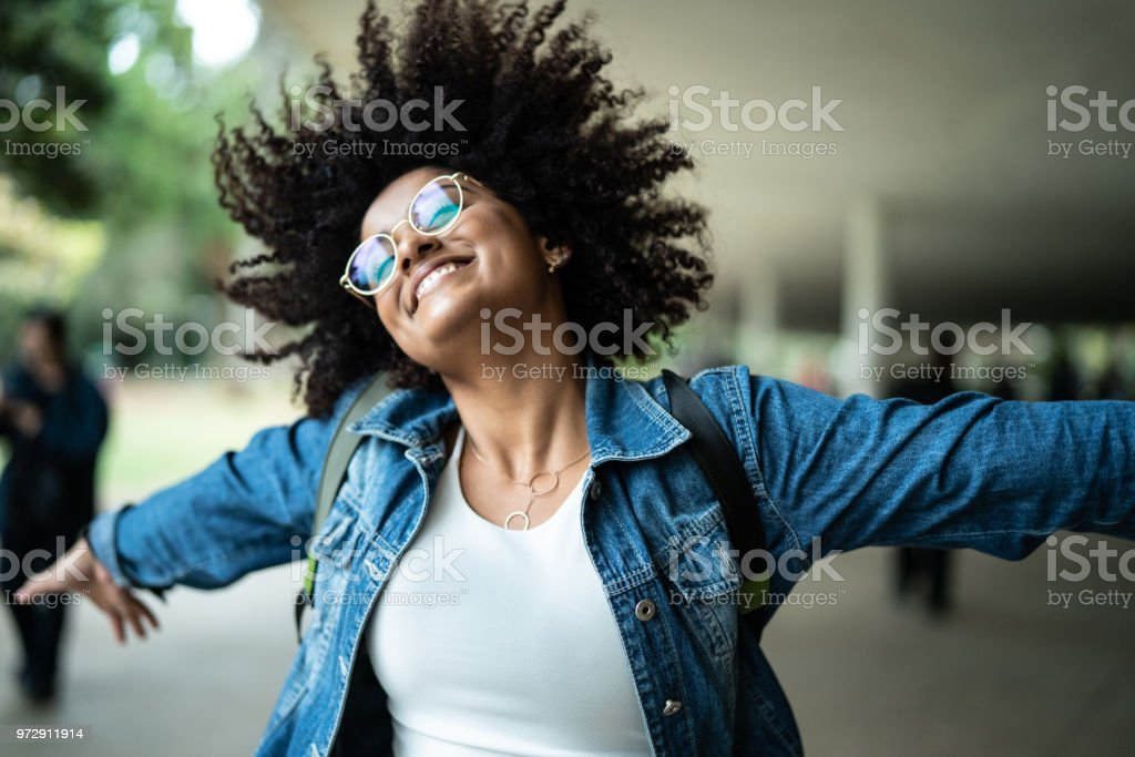 Portrait of Woman Smiling with Colorful background stock photo
