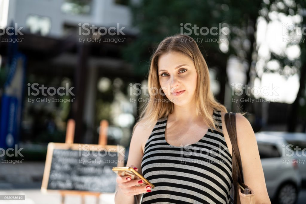 Portrait of Woman using mobile royalty-free stock photo