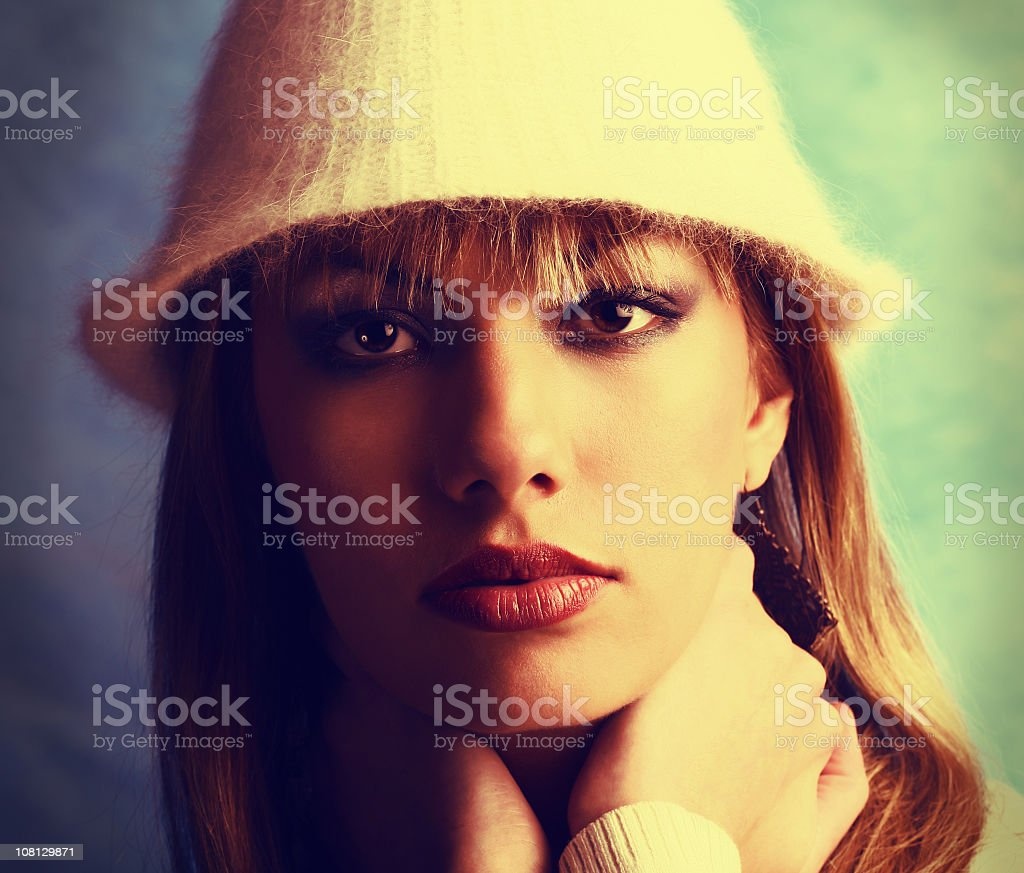 Portrait of Woman Wearing Furry Hat royalty-free stock photo