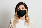 Portrait of woman wearing handmade cotton fabric face mask. Protection against COVID-19.