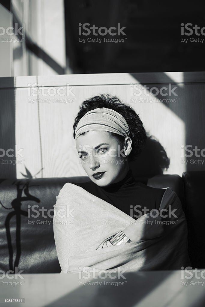 Portrait of Woman Wearing Shawl, Black and White royalty-free stock photo