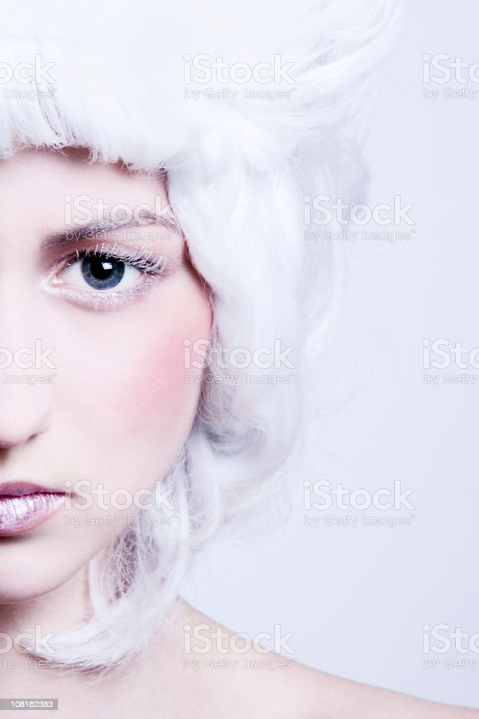 Portrait of Woman Wearing White Wig royalty-free stock photo
